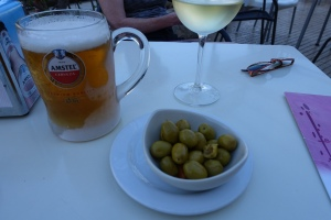 Typical small bowl of olives served with our drink order.