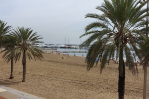 The beach was packed with people enjoying the surf.  The sand was not as pristine as it was in Alicante it seemed.