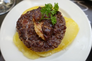 This caught Nancy's eye immediately on the menu.  Fresh made burger patty topped with Fois Gras -- yum!  It sat an slices of perfectly cooked potatoes.