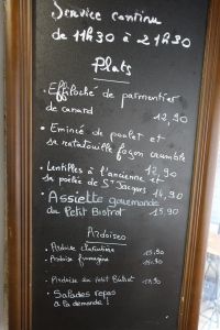 Here was our menu of the day offerings.  Nancy speaks French menu much better than conversational French :)