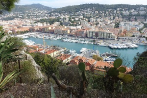 Same high up vantage point but other side away from main city of Nice.