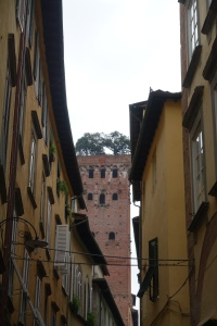 Walking the rough cobblestone streets inside the walls of Lucca.  This tower caught my eye with the trees growing on top.