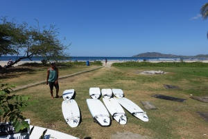 Our boards laid out for us each day and an easy walk to the surf.